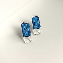 Náušnice - napichovačky z dichroického skla - modré - 12662919_