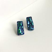 Náušnice - napichovačky Waves - modro zelené - 12664146_