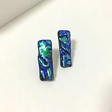 Náušnice - napichovačky Waves - modro zelené02 - 12664191_