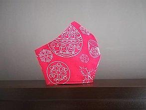 Rúška - Anatomicky tvarované bavlnené rúško / vianočné  (S - Červená) - 12669445_