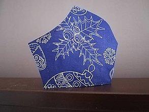 Rúška - Anatomicky tvarované bavlnené rúško / vianočné  (M - Modrá) - 12669471_