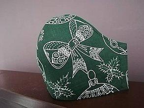 Rúška - Anatomicky tvarované bavlnené rúško / vianočné  (S - Zelená) - 12669492_