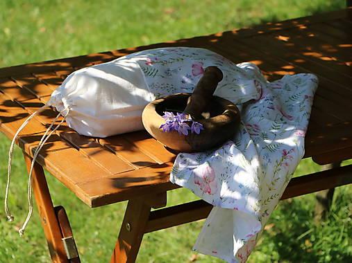 Ľanové vrecko na chlieb lúčne kvety