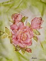 Šatky - Šatka hodvábna - rose - 12667038_