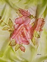 Šatky - Šatka hodvábna - rose - 12667058_