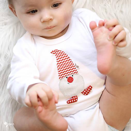 Detské oblečenie - body TRPASLÍK SILVESTER - červená čiapka (dlhý/krátky rukáv) - 12668057_