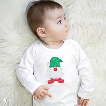 Detské oblečenie - body TRPASLÍK FLORIÁN - zelená čiapka (dlhý/krátky rukáv) - 12667287_