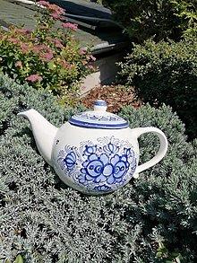 Nádoby - Kobaltový maľovaný čajník - objednávka gennie - 12666863_