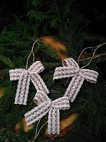 Dekorácie - jutové mašle na vianočný stromček so vzorkou - 12667501_