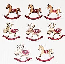 Polotovary - Vianočné drevené ozdoby koník a sobík - sada 8 kusov - 12672268_