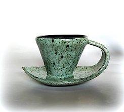 Nádoby - Šáločka na kávičku 2 v 1 - zelenkavá - 12669560_
