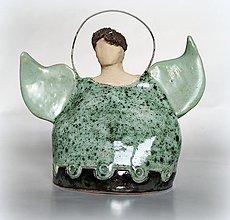 Dekorácie - Keramický  anjelský zvonček - 12669687_