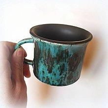 Nádoby - Keramická šálka tyrkysovo - čierna - 12671218_