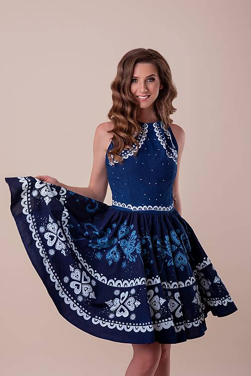 Šaty - Kolekcia Inšpirácie - modrotlač - 12669133_