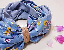 Šály - Dámsky ľanovo bavlnený dvojfarebný nákrčník - blue and flowers - 12670543_