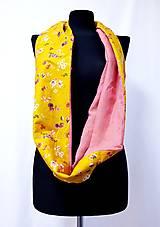 Šály - Dámsky ľanovo bavlnený dvojfarebný nákrčník - pink and flowers - 12670565_