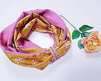Šály - Dámsky ľanovo bavlnený dvojfarebný nákrčník - pink and flowers - 12670566_