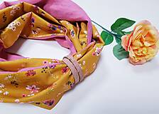 Šály - Dámsky ľanovo bavlnený dvojfarebný nákrčník - pink and flowers - 12670567_