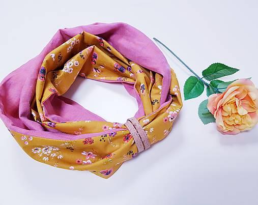 Dámsky ľanovo bavlnený dvojfarebný nákrčník - pink and flowers