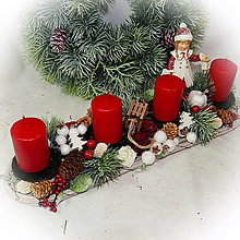 Dekorácie - Adventní svícen - Holčička s medvídkem a lucerničkou - 12672252_