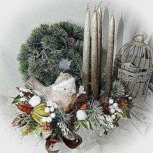 Dekorácie - Adventní truhlíček - Zimní ptáček - 12672256_