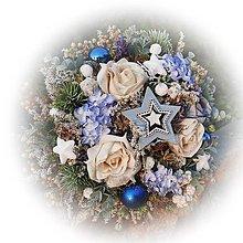 Dekorácie - Zimní pugétek - ledově modrá - 12672267_