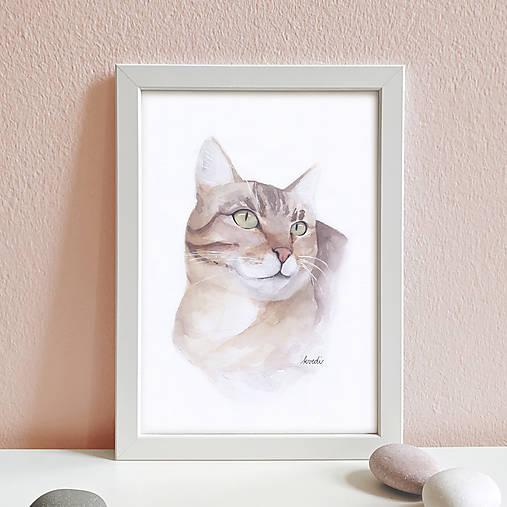 Portrét na želanie- akvarelový portrét mačky - A4