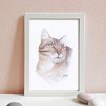 Obrazy - Portrét na želanie- akvarelový portrét mačky - A4 - 12672184_