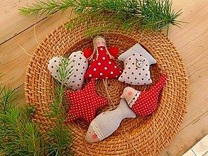 Dekorácie - Vianočné ozdoby na stromček, Red & Natural, 6 ks v sade - 12668800_