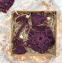 Dekorácie - Vianočné ozdoby sada 5 ks Burgundy - 12669146_