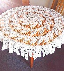 Úžitkový textil - Háčkovaný obrus na okrúhly stôl, biely - 12668551_
