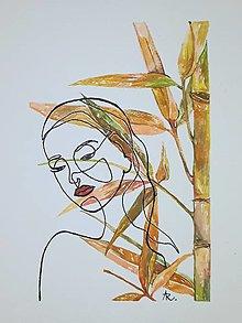 Obrazy - Palm bamboo - bambus šťastia,18 x 24 cm, akvarel - 12673220_