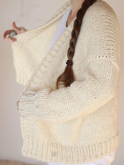 Ručne pletený hrubý vlnený sveter CHUNKY OVERSIZED