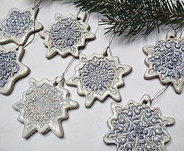Dekorácie - Vianočné ozdoby - Snehové vločky 7 ks - 12674705_