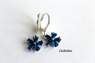 Náušnice - Flower Parisian Blue - 12675875_