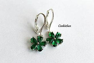 Náušnice - Flower Emerald Green - 12675887_