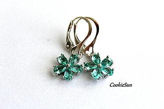 Náušnice - Flower Turquoise - 12675899_
