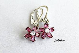 Náušnice - Flower Fuchsia - 12675937_