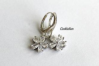 Náušnice - Flower Clear - 12675976_