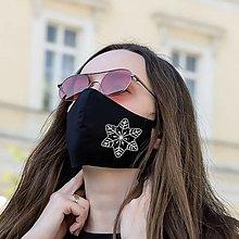 Rúška - Vianočné Rúško čierne Rucne malovane - 12674484_
