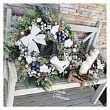 Dekorácie - Adventny svietnik drevene sane biela modra zlata - 12676862_