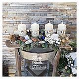 Dekorácie - Adventny svietnik drevene sane biela modra zlata - 12676863_