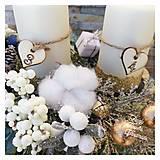 Dekorácie - Adventny svietnik drevene sane biela modra zlata - 12676865_