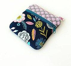 Taštičky - Taštička s kapsičkou Veľké farebné kvety - 12674538_