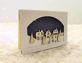 Papiernictvo - Vianočná pohľadnica dedinka - 12676180_