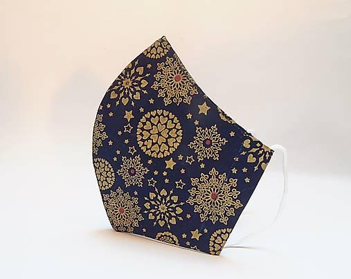 Tvarované dvojvrstvové rúška - Zlaté snehové vločky na modrom podlade (cca 11 cm)