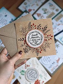 Papiernictvo - Vianočná pohľadnica Prírodná - 12678395_
