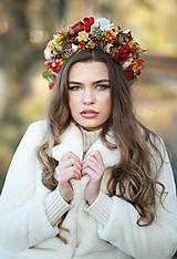 Ozdoby do vlasov - Veľký jesenný kvetinový boho venček - 12677024_
