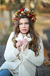 Ozdoby do vlasov - Veľký jesenný kvetinový boho venček - 12677025_