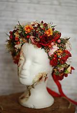 Ozdoby do vlasov - Veľký jesenný kvetinový boho venček - 12677026_